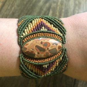 Macrame Agate Adjustable Bracelet